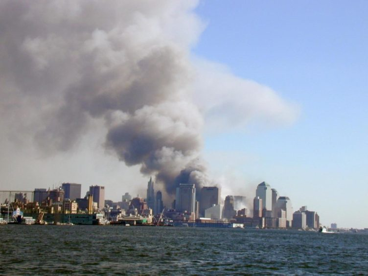 A view of the New York skyline from New Jersey after two hijacked jets crashed into the World Trade Center.