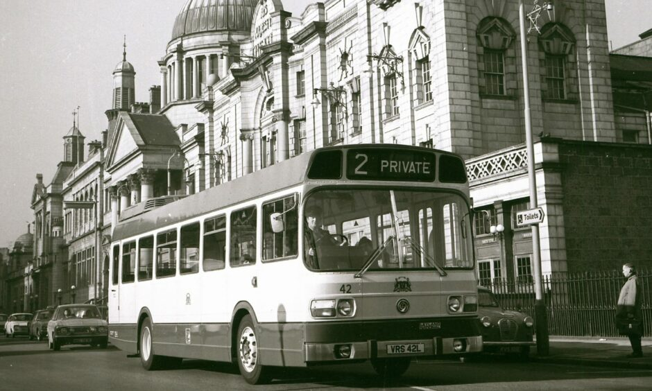 An Aberdeen Corporation Transport bus passes by His Majesty's Theatre in 1973.