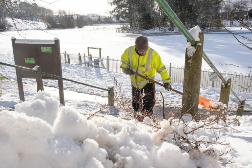 Path clearing at Keptie Pond in Arbroath last year.