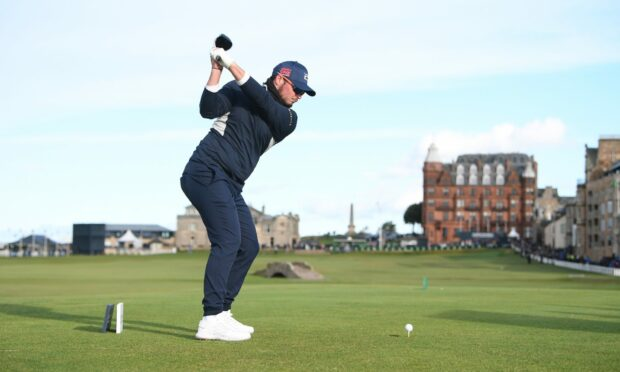 Scottish golfer Ewen Ferguson on the Old Course during the Dunhill Cup.