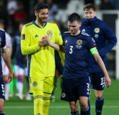 Craig Gordon and Scotland skipper Andy Robertson.