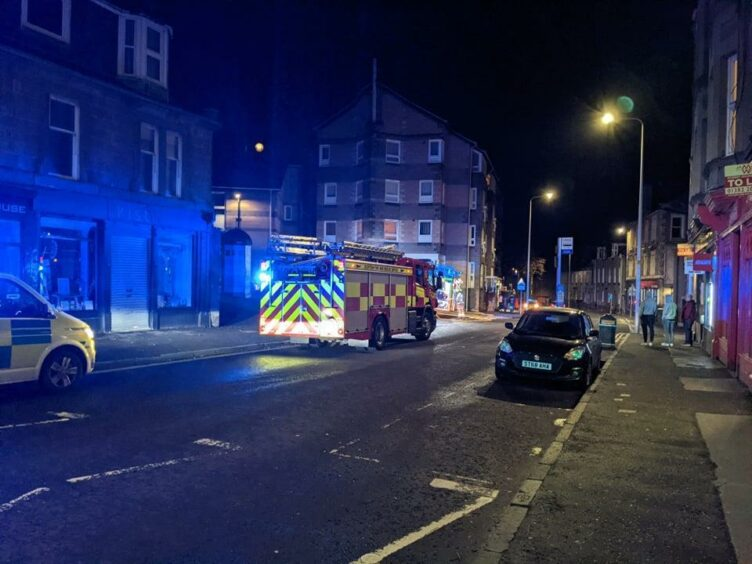 Fire engine on Pennycook Lane in Dundee after reports of a building fire