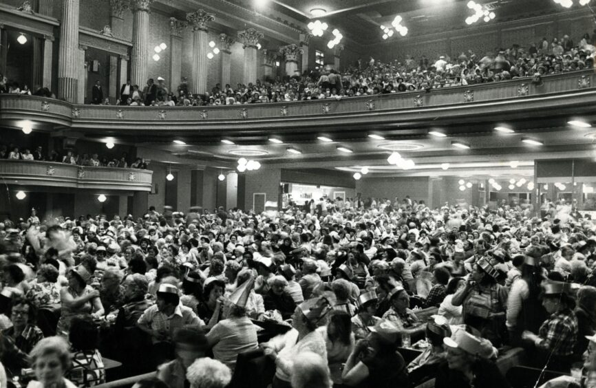 A crowded scene in 1979 after Green's Playhouse became a bingo hall following the decline of movies.