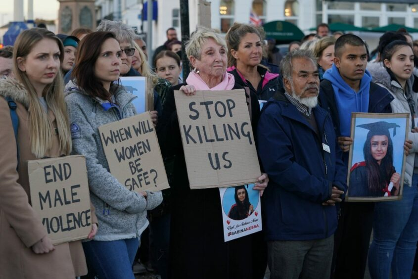 A vigil for Sabina Nessa at Eastbourne Pier in East Sussex.