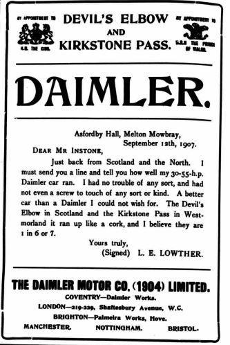 Daimler used the Devil's Elbow in their car adverts