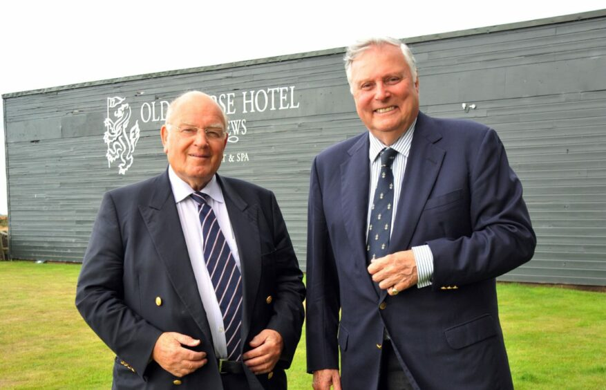 Renton Laidlaw and his old friend Peter Alliss at St Andrews in 2013.