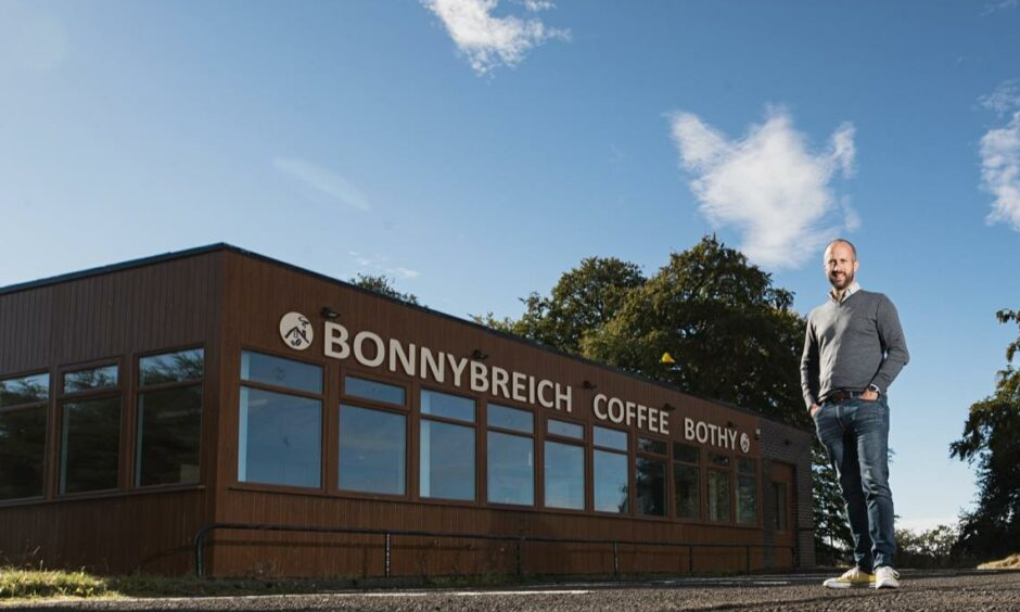 Will Macpherson in front of the Bonnybreich Coffee Bothy which is being transformed into the new Angus Grill and Larder.