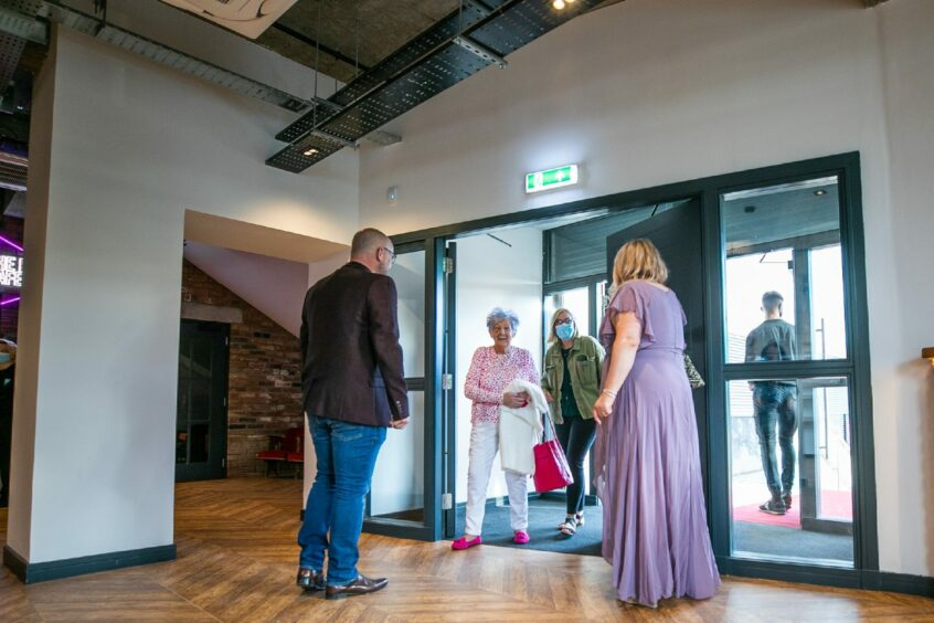 Elizabeth Burnside and her niece, Elizabeth Hood were first through the doors of the new Playhouse community cinema and arts centre.