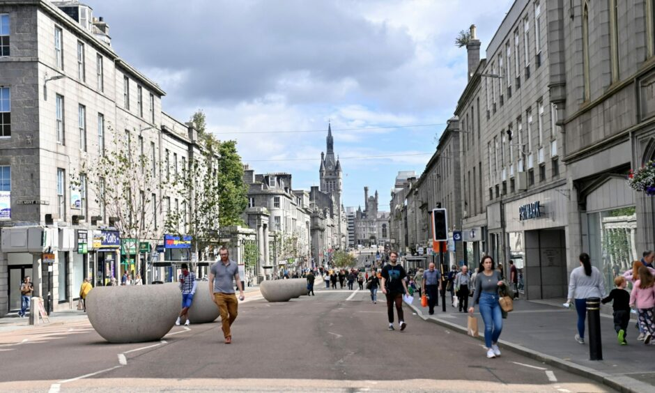 The pedestrianised stretch of Union Street, Aberdeen, in August 2021.