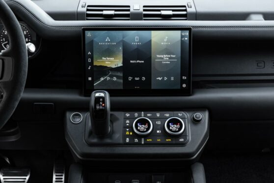 Land Rover Defender V8 display screen.
