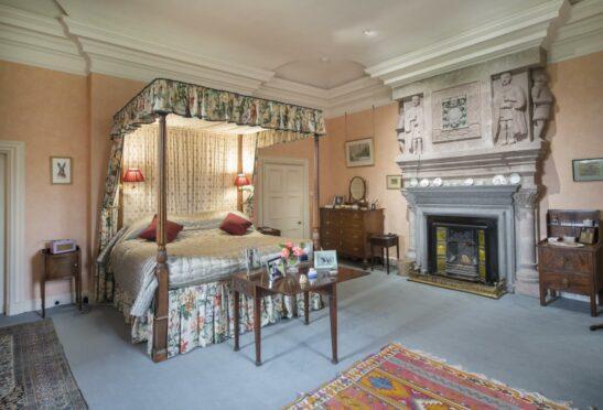 A bedroom inside Careston Castle in Angus.
