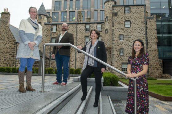 Hannah Miley, Stuart MacBride, Marie Boulton and Johanna Basford. Aberdeen.
