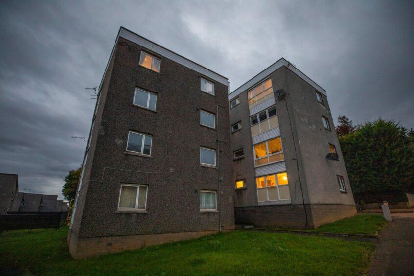 The block in Craigiebarns Road that has been left in the dark.