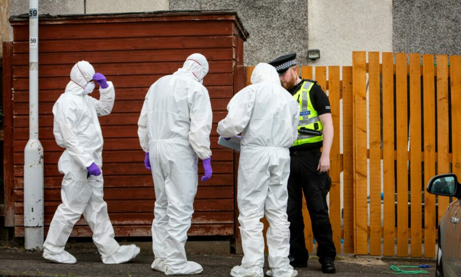 Police search Sam Imrie's home in Colliston Avenue, Glenrothes in July 2019