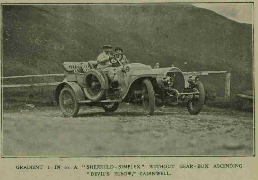 A vehicle without a gearbox going up the Devil's Elbow in 1909.