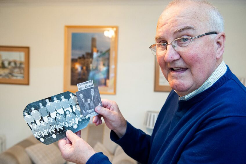Colin Grant with some memorabilia from his time playing with Peterhead FC.