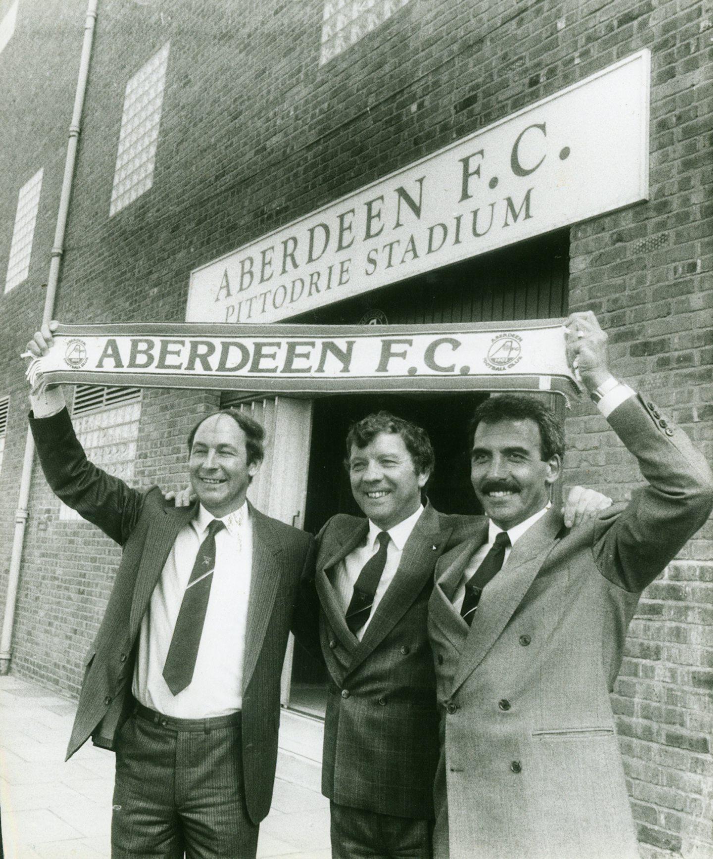 The Aberdeen management team of Drew Jarvie, Alex Smith and Jocky Scott.