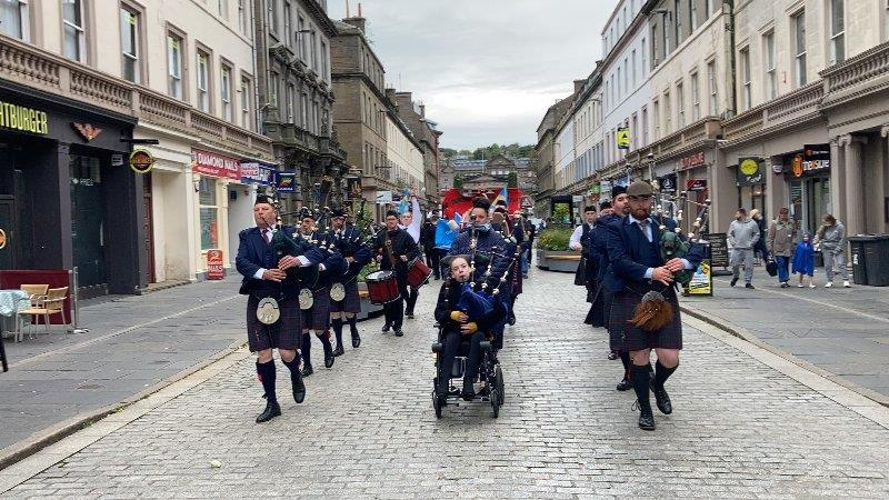 Katie led the Dundee City Pipe Band troop down Reform Street earlier this month.