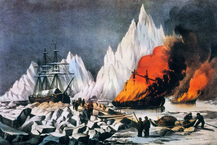 A painting of whalers trapped in the ice and burning their wrecks to avoid danger to other vessels.