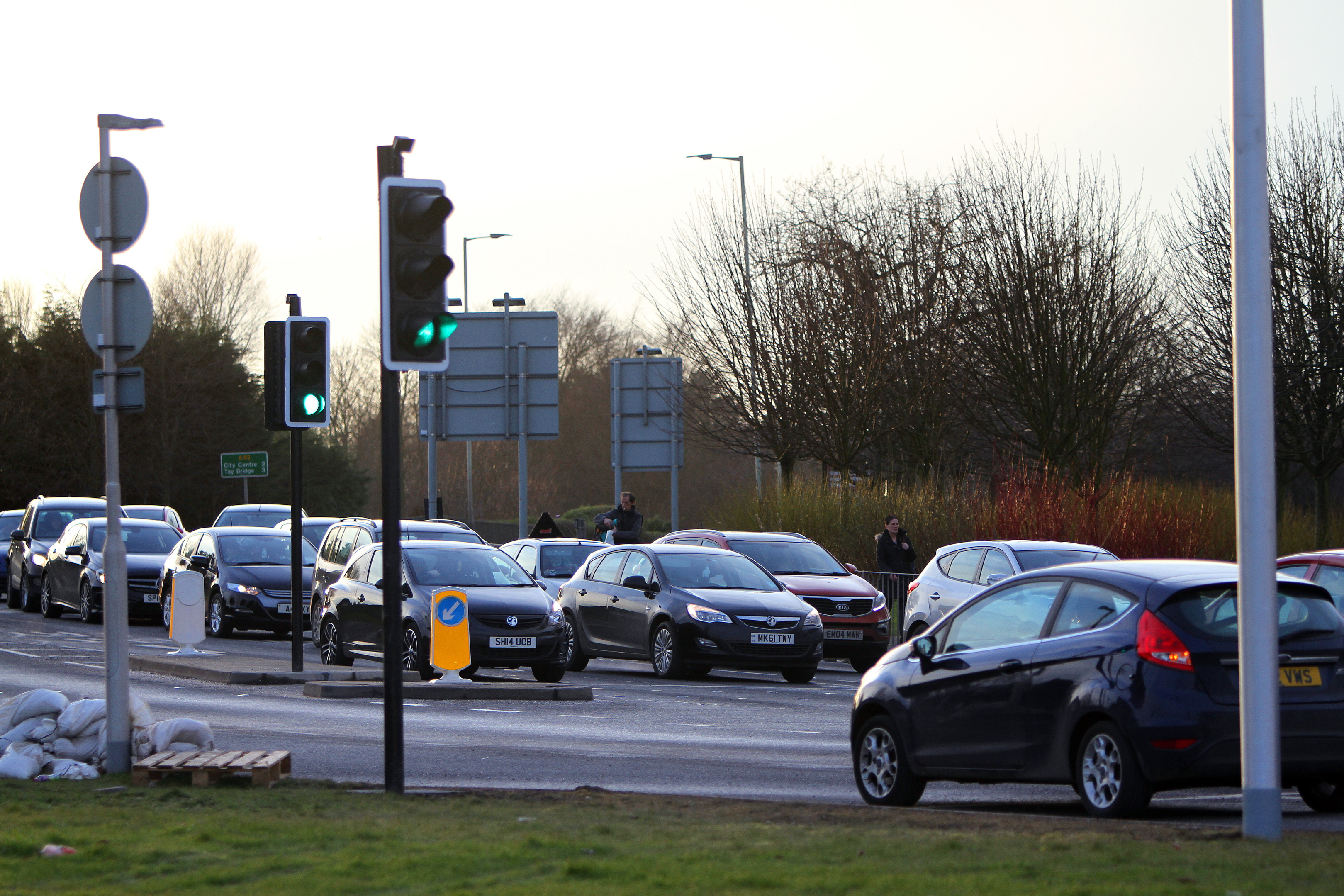 Cars queuing at Claypotts junction last year.