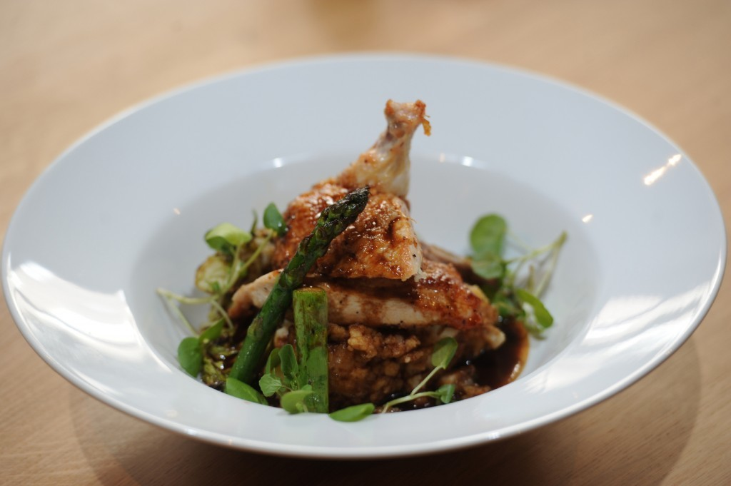 Corn-fed chicken, charred little gem lettuce, grilled asparagus and smoked garlic mash.