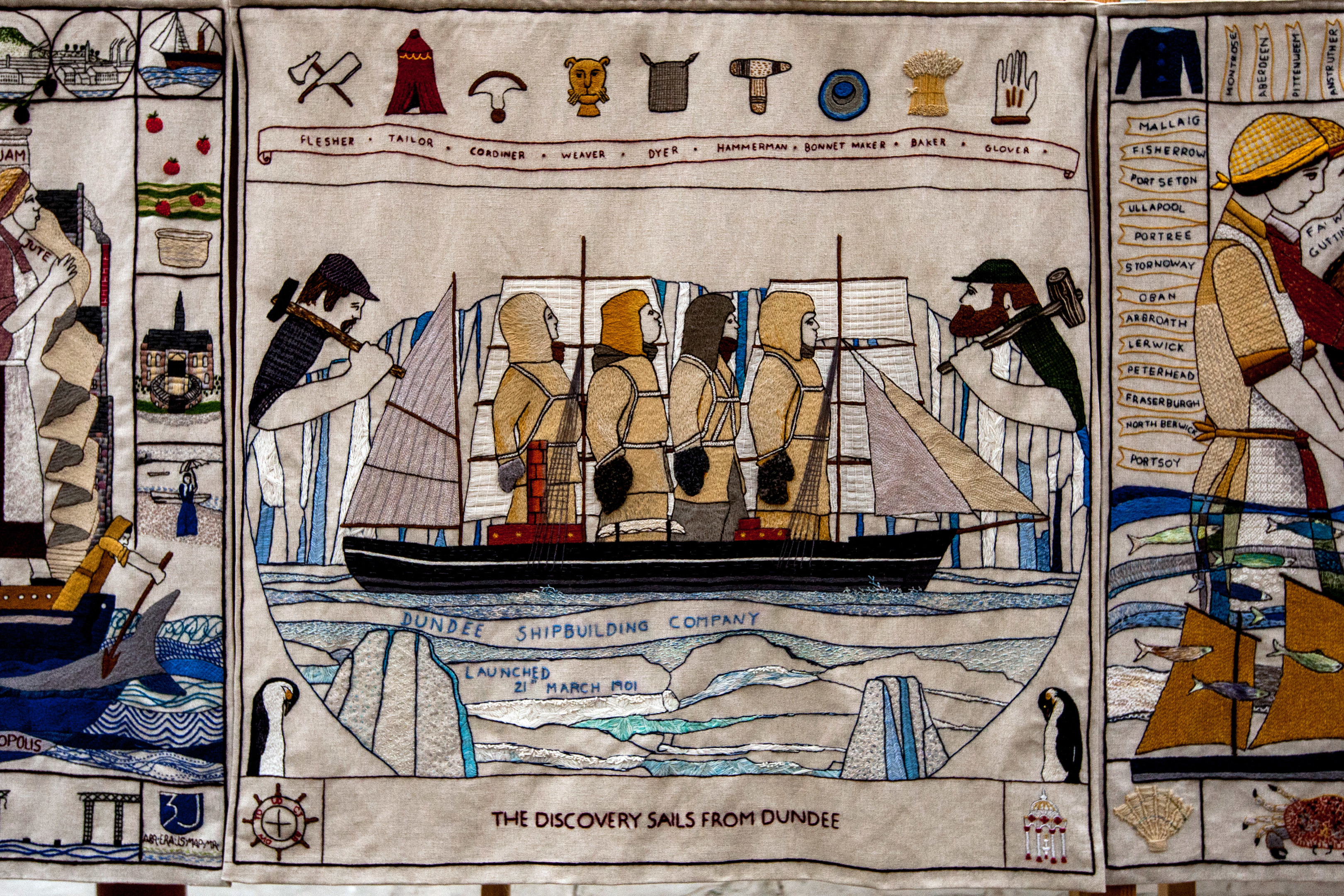 'The Discovery sails from Dundee' panel, stitched in Newport on Tay by 5 people.