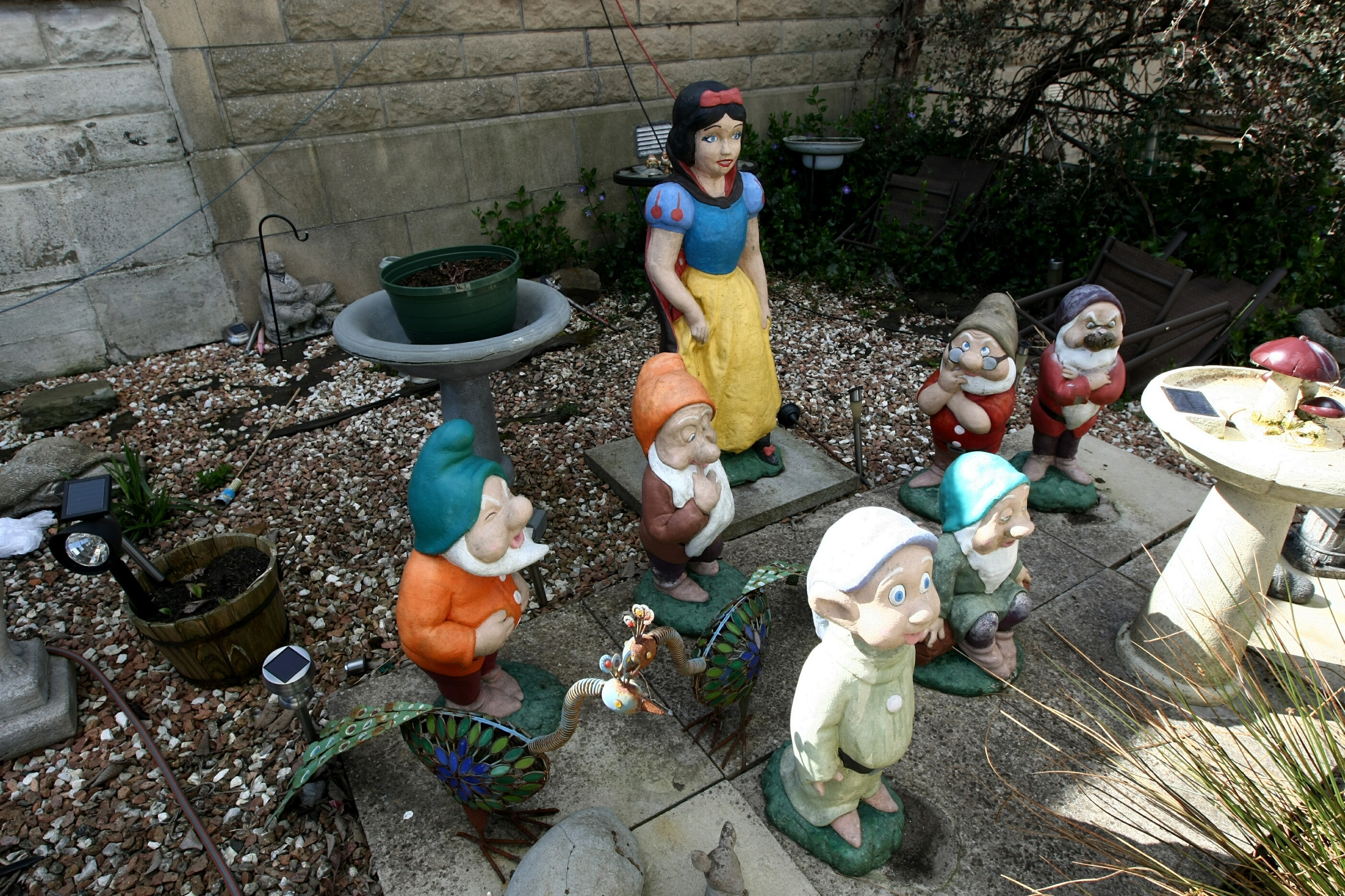 Snow White  has been left with only  six dwarfs after one was taken from Marion Benstead's garden.