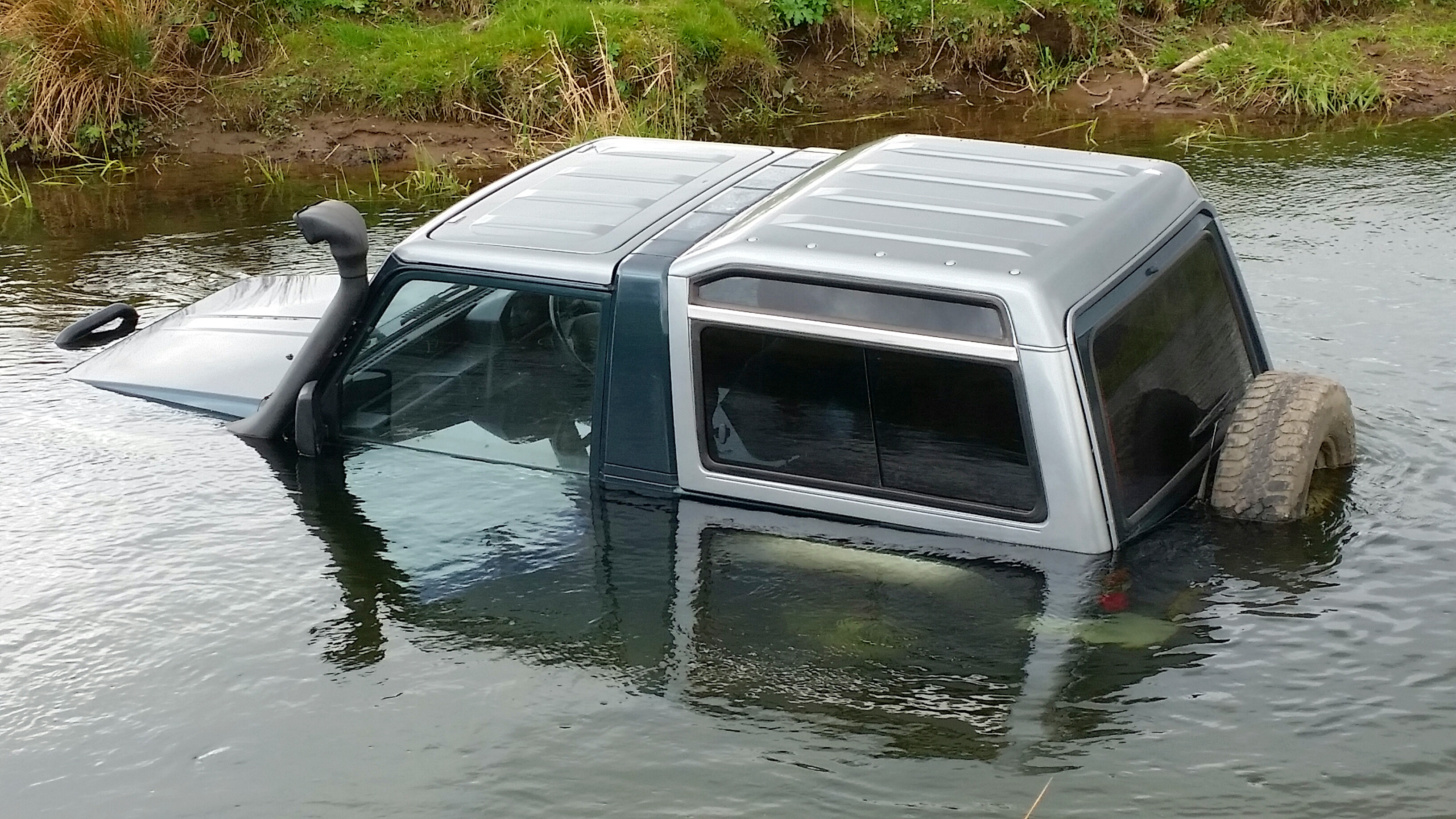 4x4 left submerged in water near the Dighty was result of test drive gone wrong