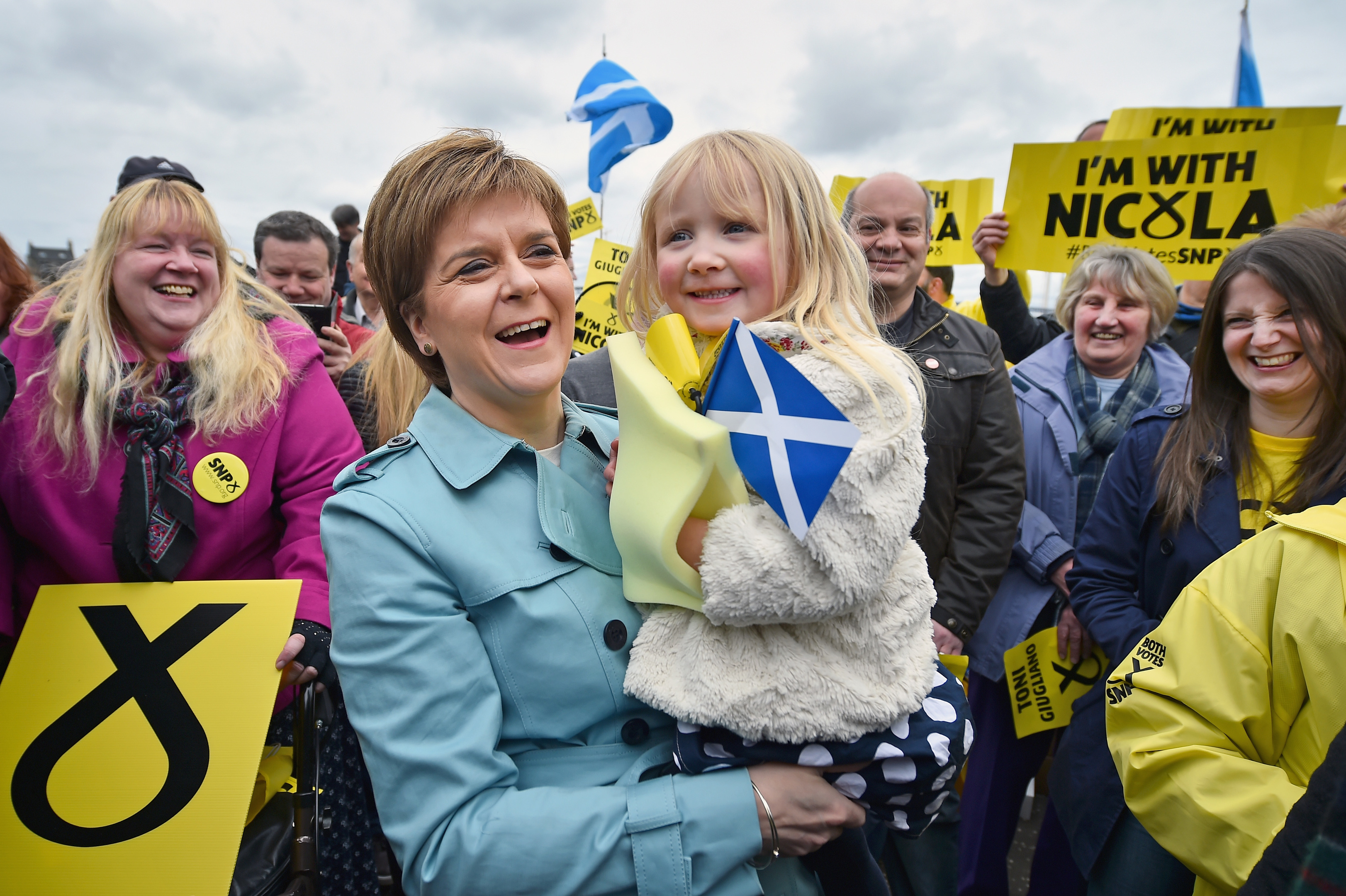 SNP leader Nicola Sturgeon is given a kiss by five-year-old Holly in South Queensferry,