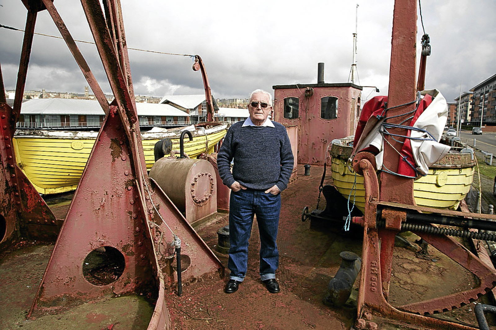 Ken Millar on the North Carr lightship.