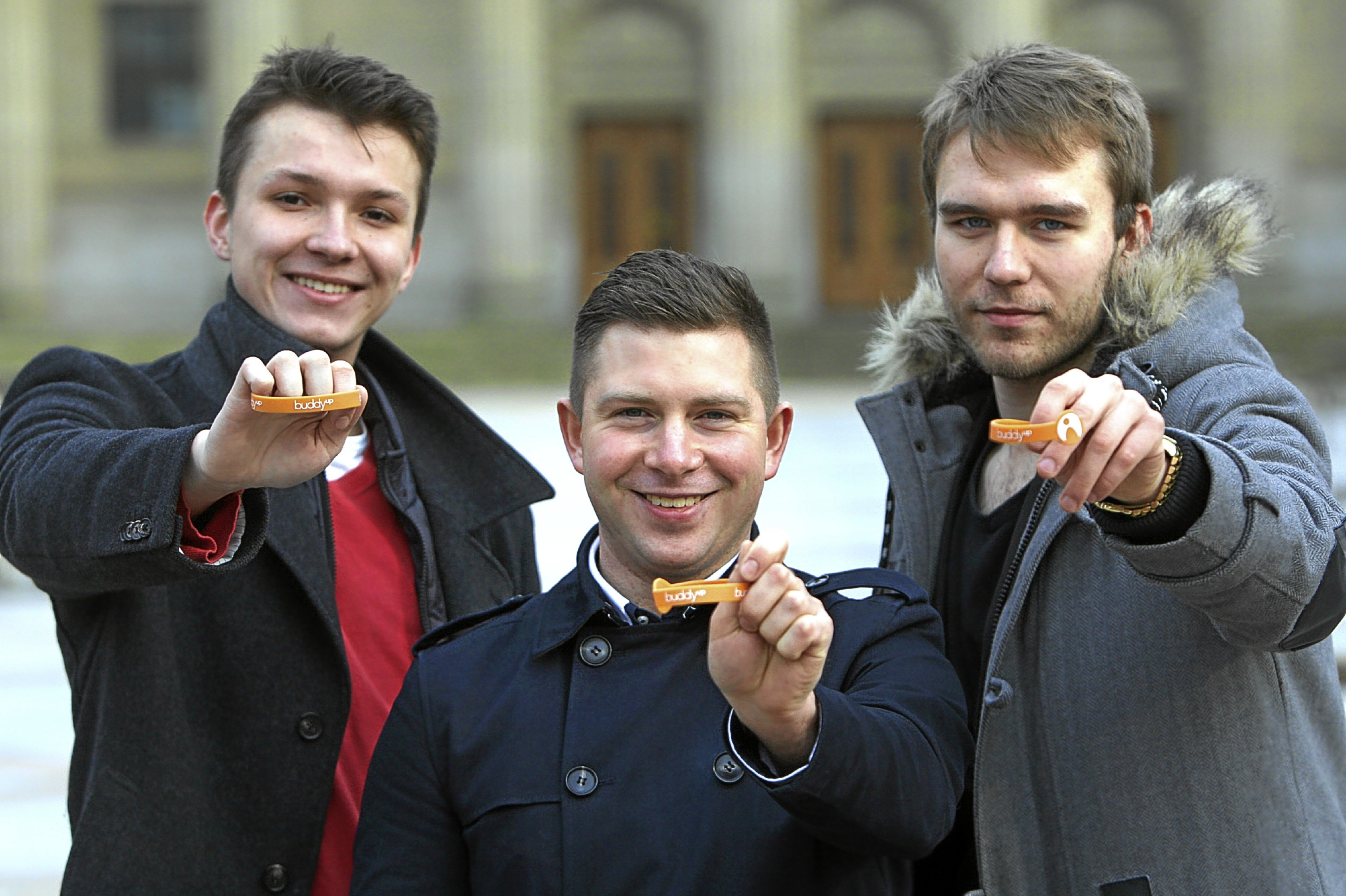 Kris Miller, Courier, 11/04/16. Picture today in Dundee shows University of Dundee students, Filip Kajetan Makara, Vladimir Zabnin and Pawel Lysik who have big plans for a fitness themed app. The trio are crowfunding and hoping to raise £10,000 to get 'Buddy Up' off the ground. Pic shows the students with awards they won for the idea.