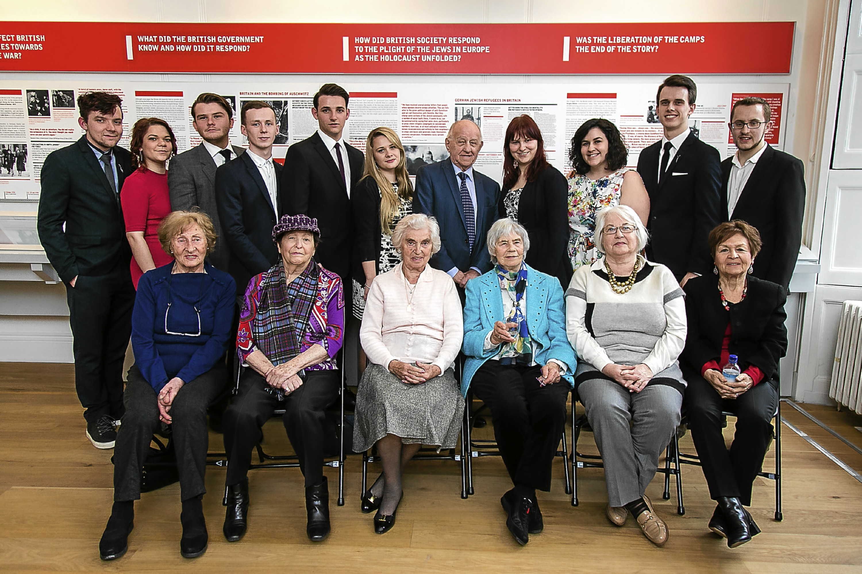 Connor Finlayson and Beth Sommerville (back left) were among those who attended a new Holocaust awareness exhibition.