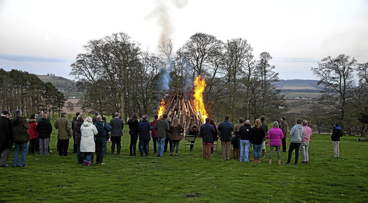 Celebrations marked the Queen's 90th Birthday at Carse Gray, Forfar, organised by James and Melissa Gray-Cheape.  Around 100 people attended and were given wine and eats. The Lord Lieutenant, Georgiana Osborne, read a message from Prince Charles and then lit the beacon.