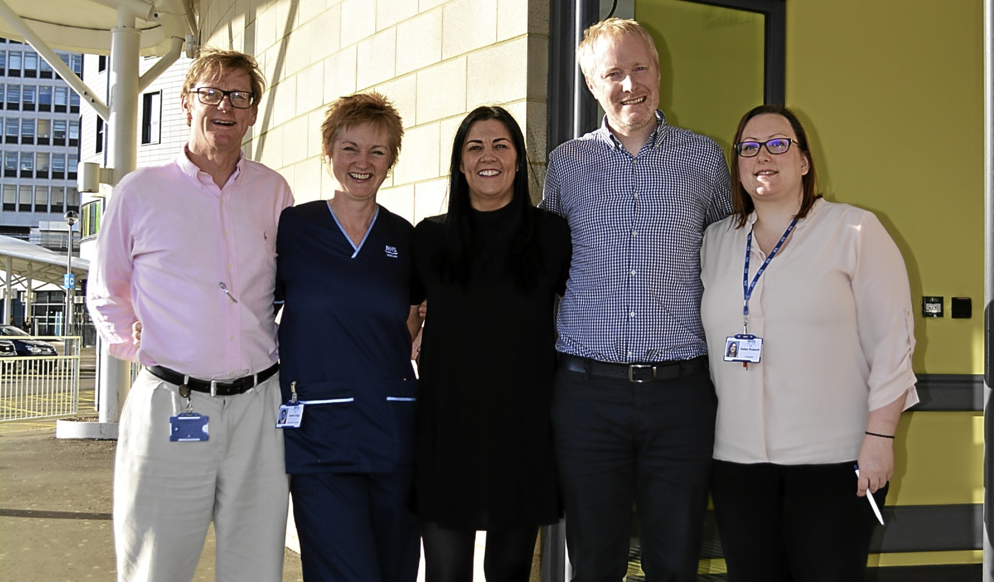 Consultant in obstetrics and gynaecology Graham Tydeman, fetal medicine midwife specialist Isobel Clegg, Alison Askew, Rob Askew, and consultant in obstetrics and gynaecology Helen Russell.