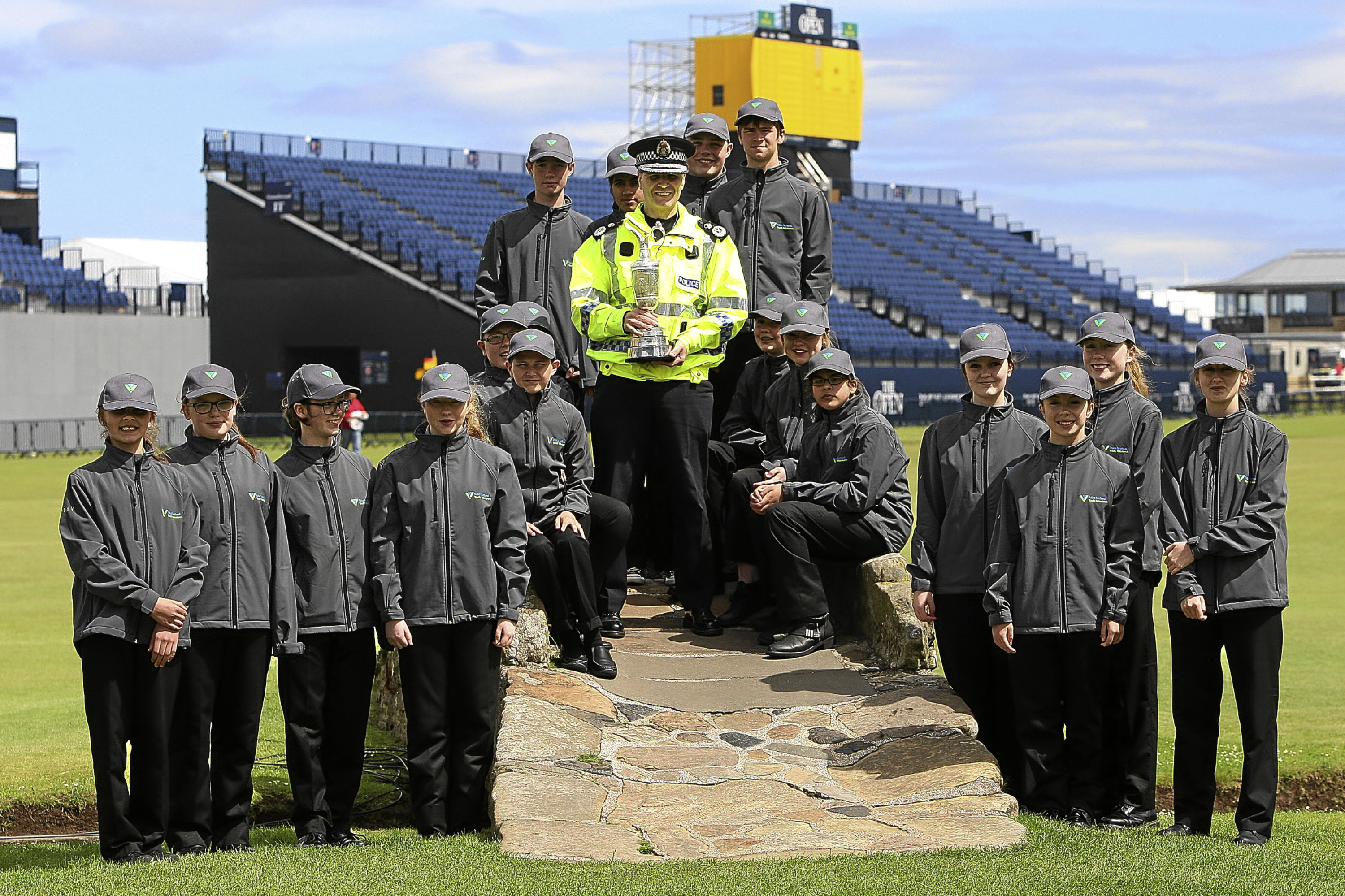 Some of the youngsters involved in the Police Scotland Youth Volunteer Scheme at the Old Course in St Andrews.