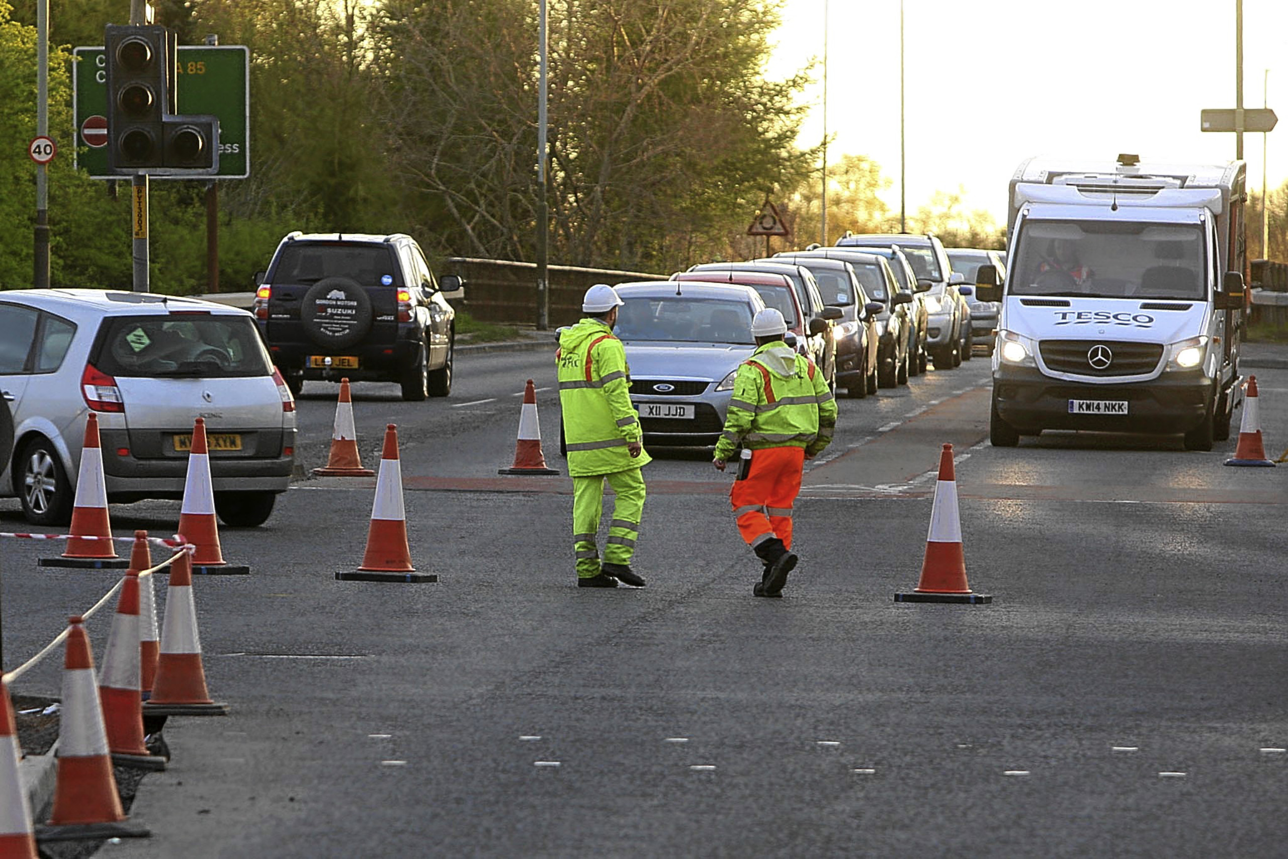 Work being carried out on the A85