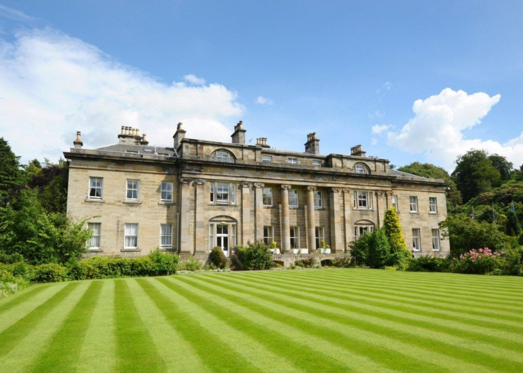 The well-groomed lawns of Balbirnie House Hotel.