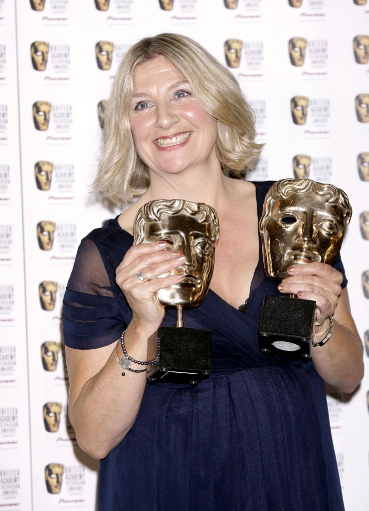 Victoria Wood with her Bafta awards for Best Actress and Best Single Drama for Housewife 49.