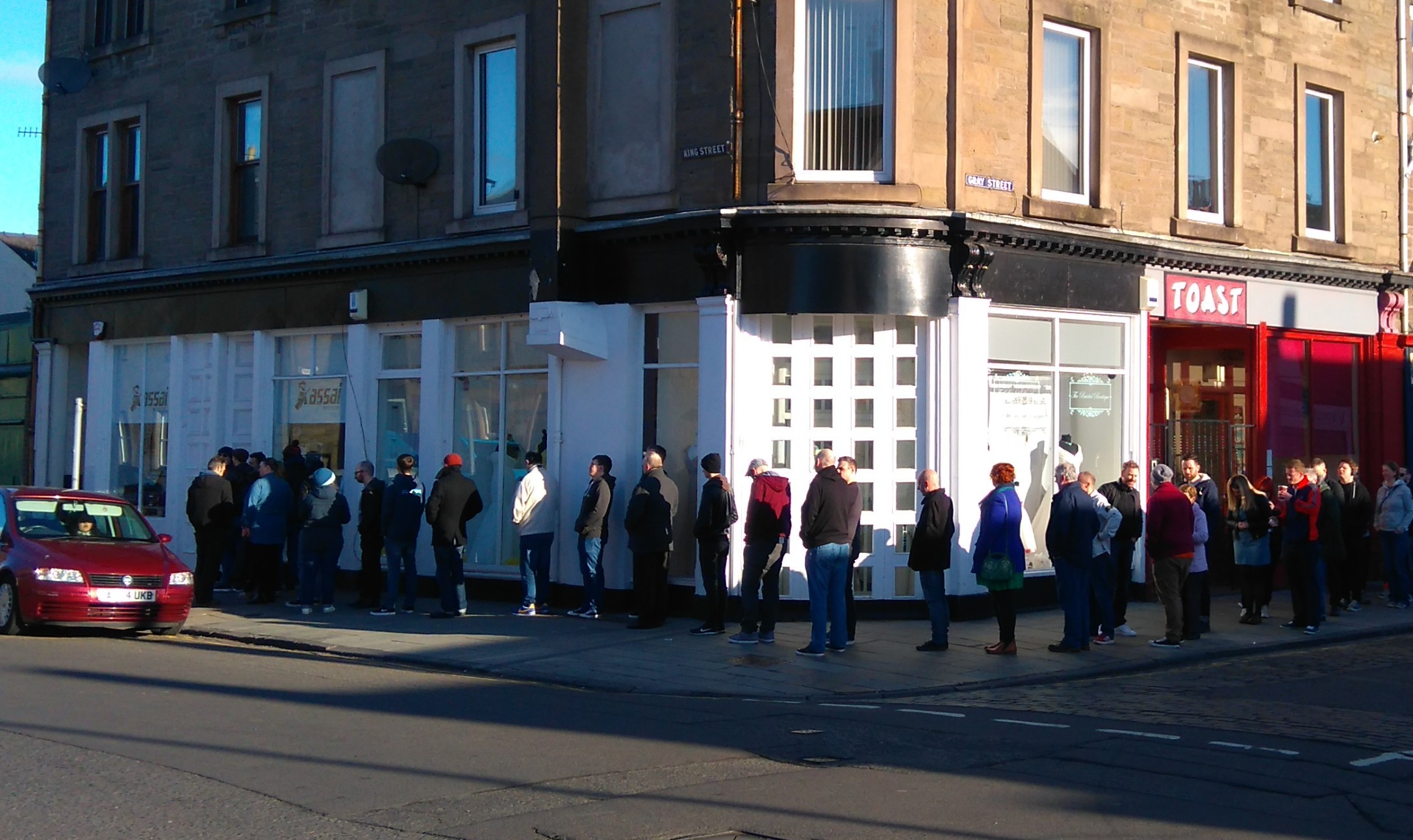 Vinyl fans queuing up outside Assai in Broughty Ferry.