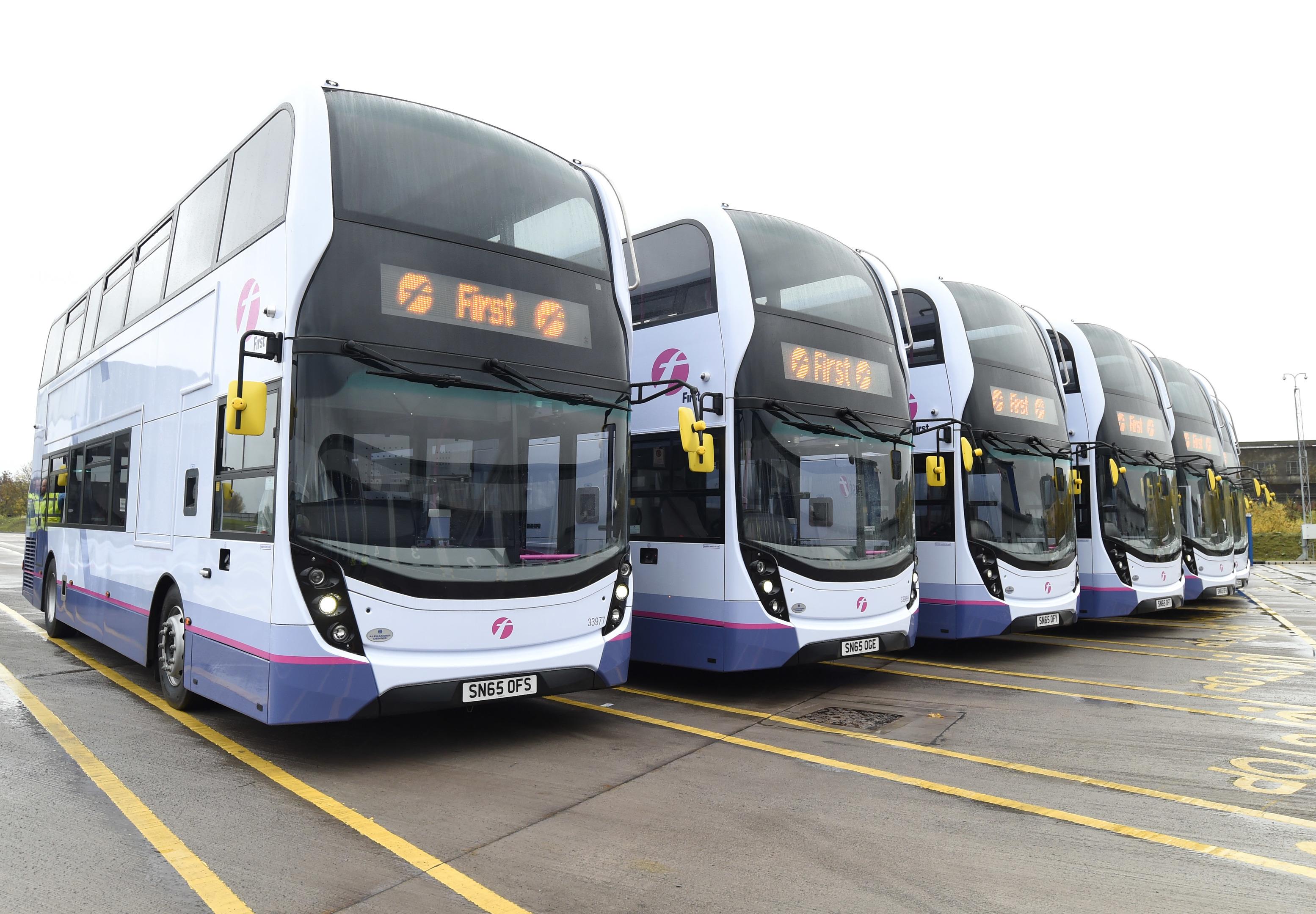 Fleet of ADL FirstGroup buses.