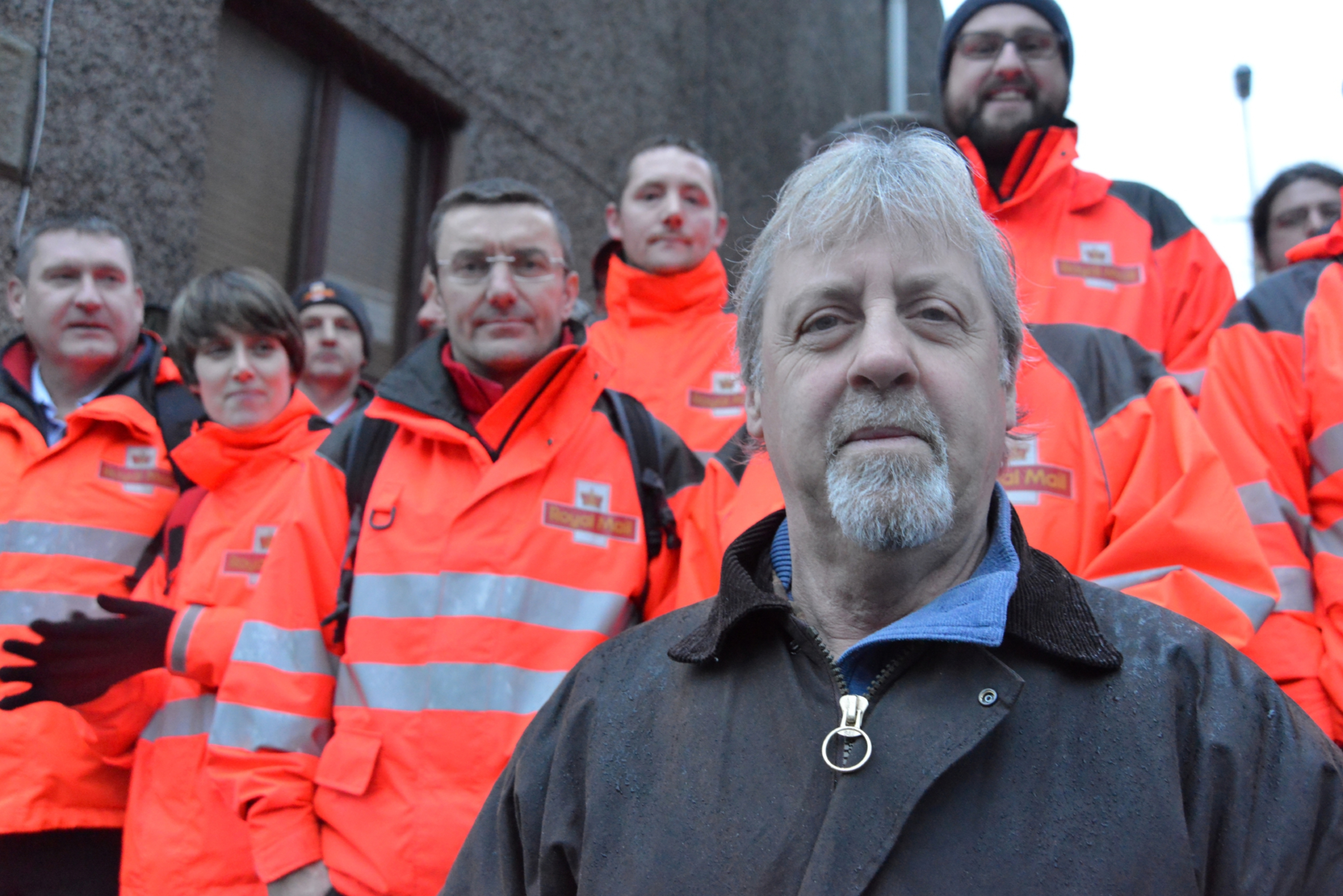 David Mitchell at a strike outside Royal Mail's sorting office in Cupar