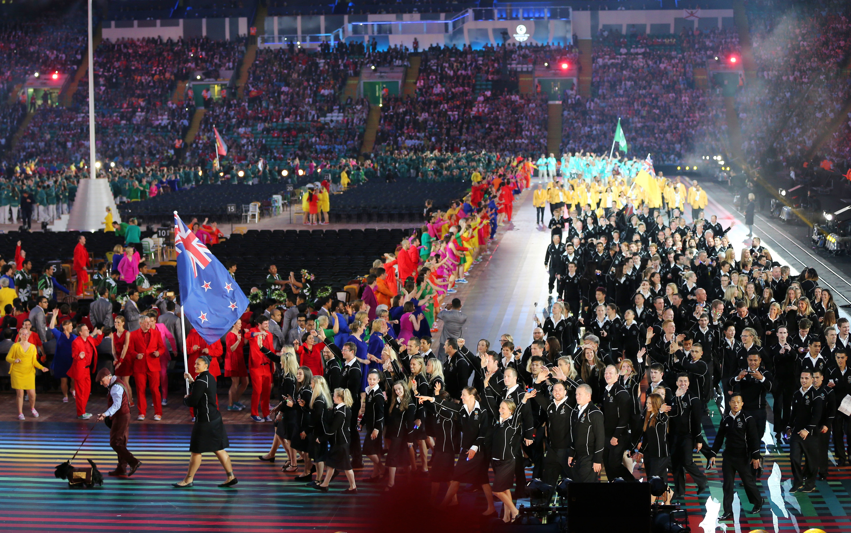 The New Zealand athletes during the opening ceremony for the Glasgow 2014 Commonwealth Games at Celtic Park.