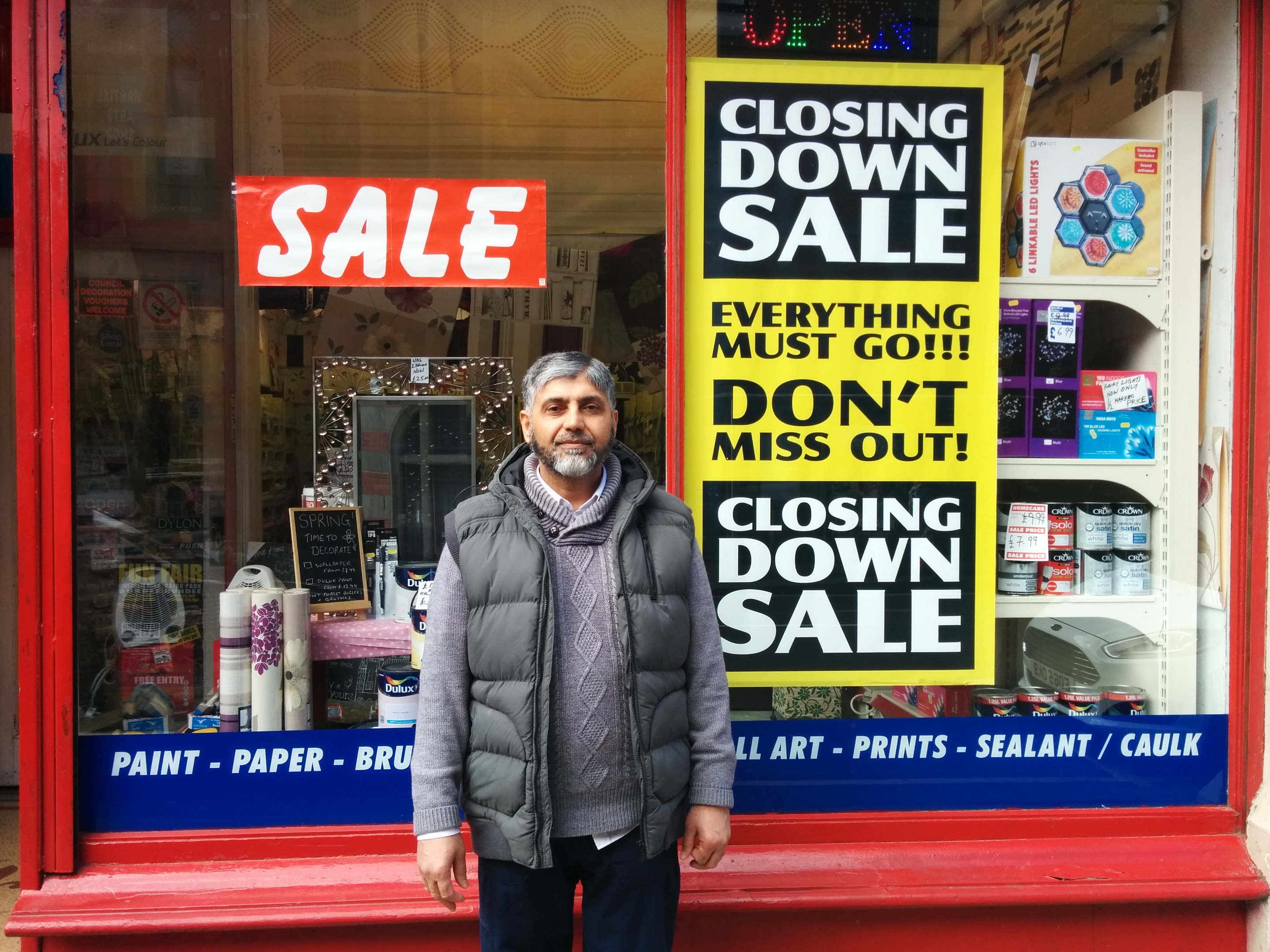 Mohammed Afzal outside his and wife Taharah's Homecare shop on Dundee's Seagate. He is being forced to close and believes the council must do more to protect city centre retailers.