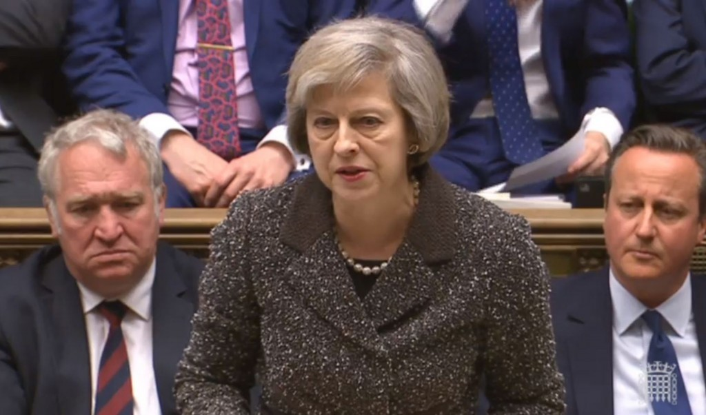 Home Secretary Theresa May makes a statement to MPs in the House of Commons.