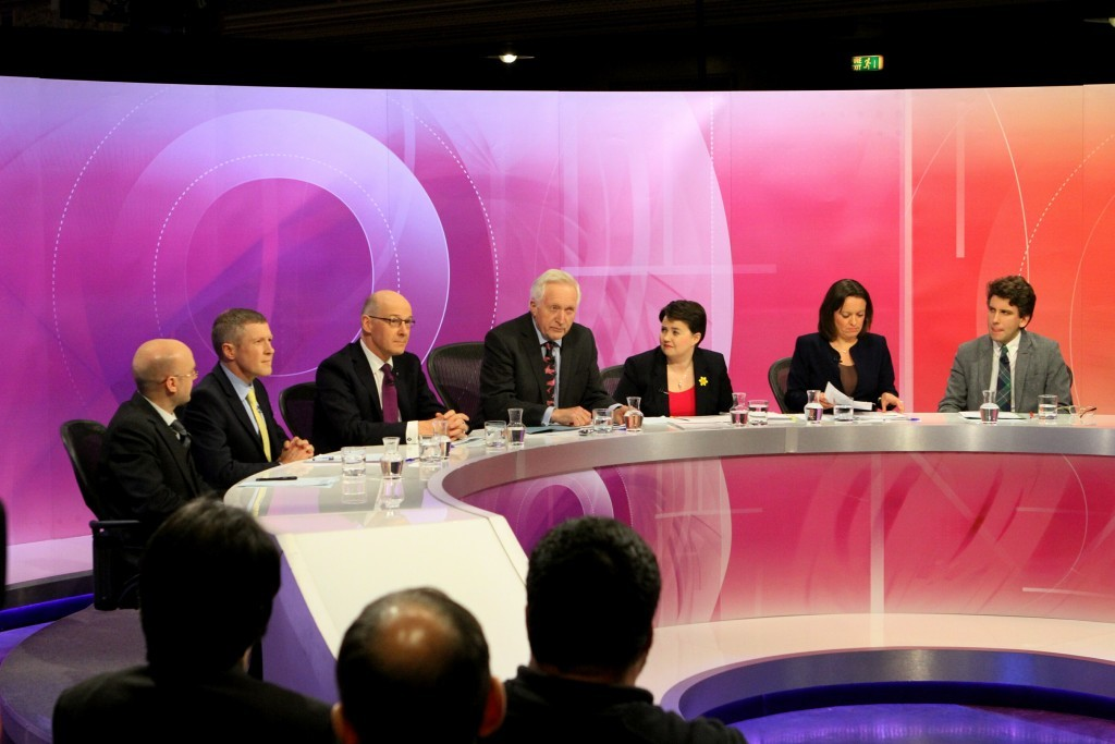 Jenny Marra appears on the BBC Question Time panel at the Caird Hall in Dundee.