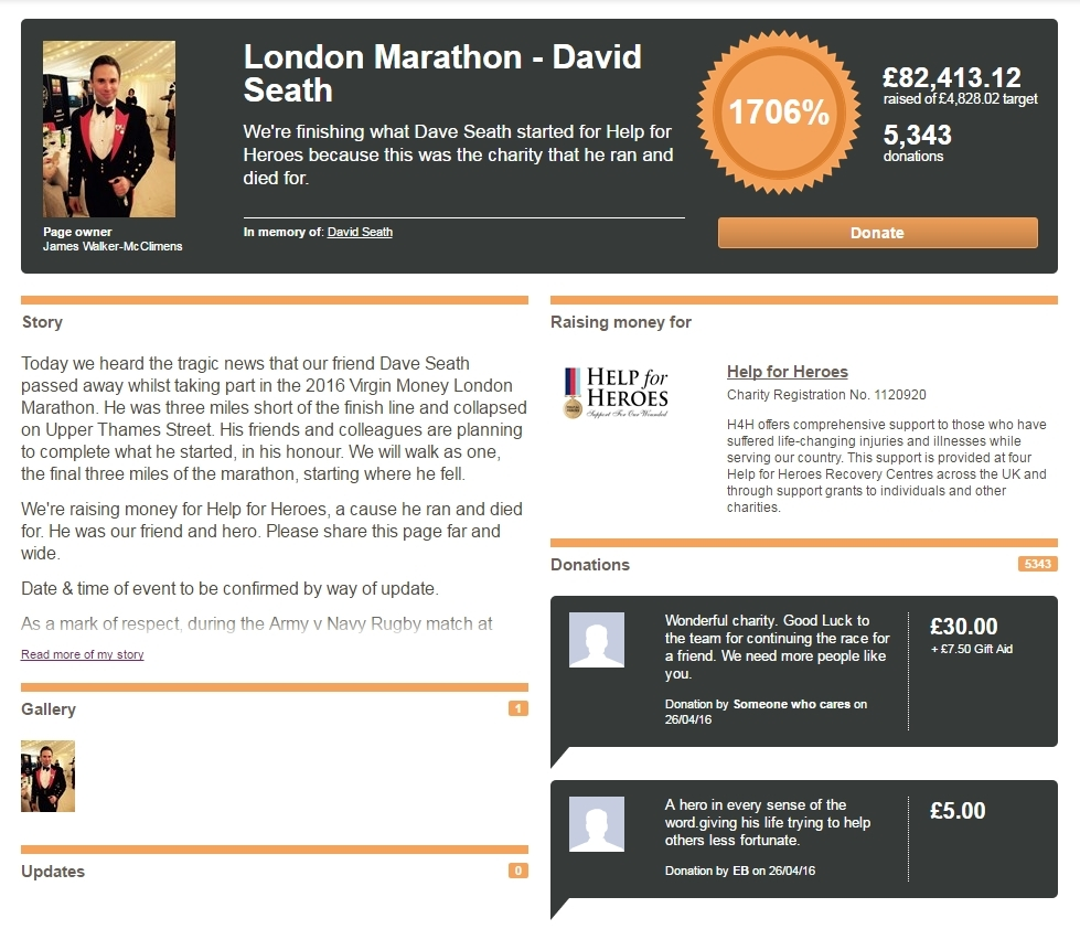 A JustGiving page was set up in memory of the marine.