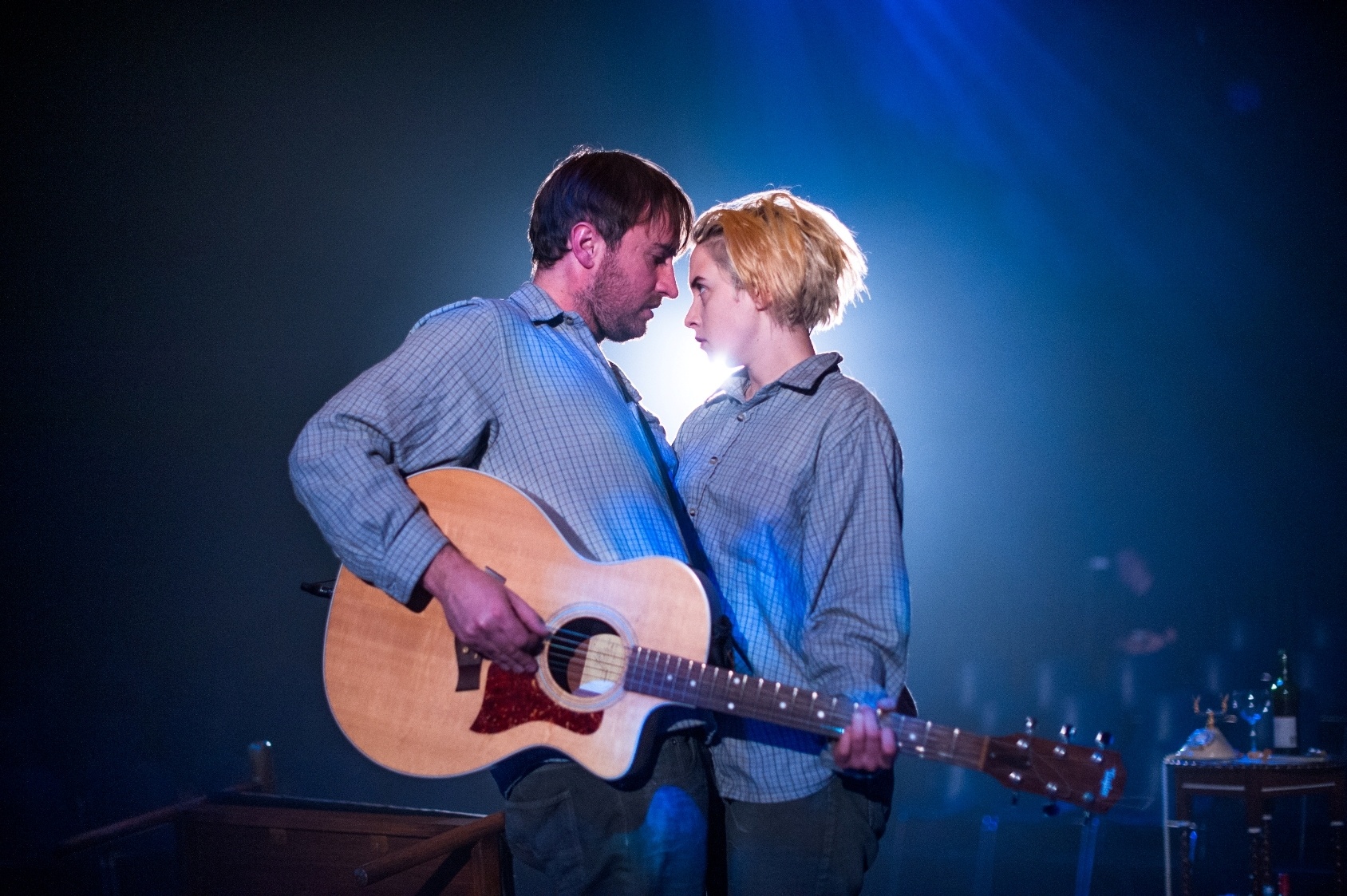 Ewan Donald as Beane and Sarah Swire as Molly in Love Song.