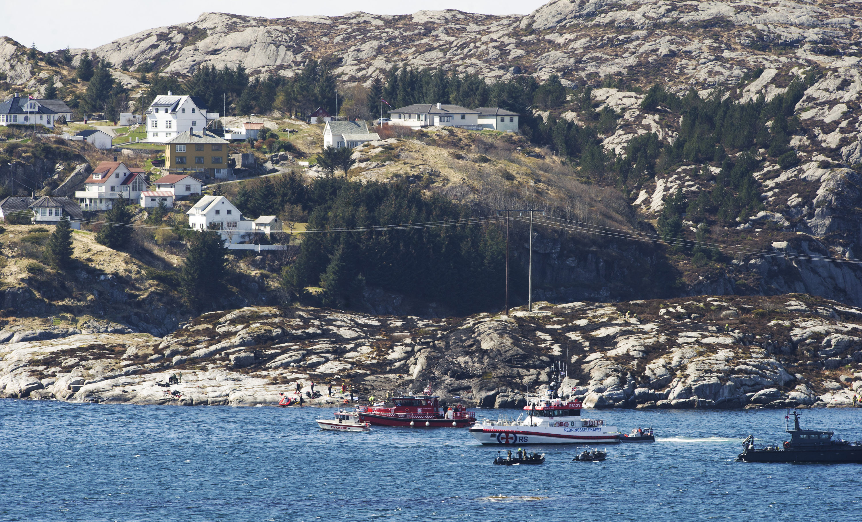 A search and rescue vessel patrols off the island of Turoey in Norway.