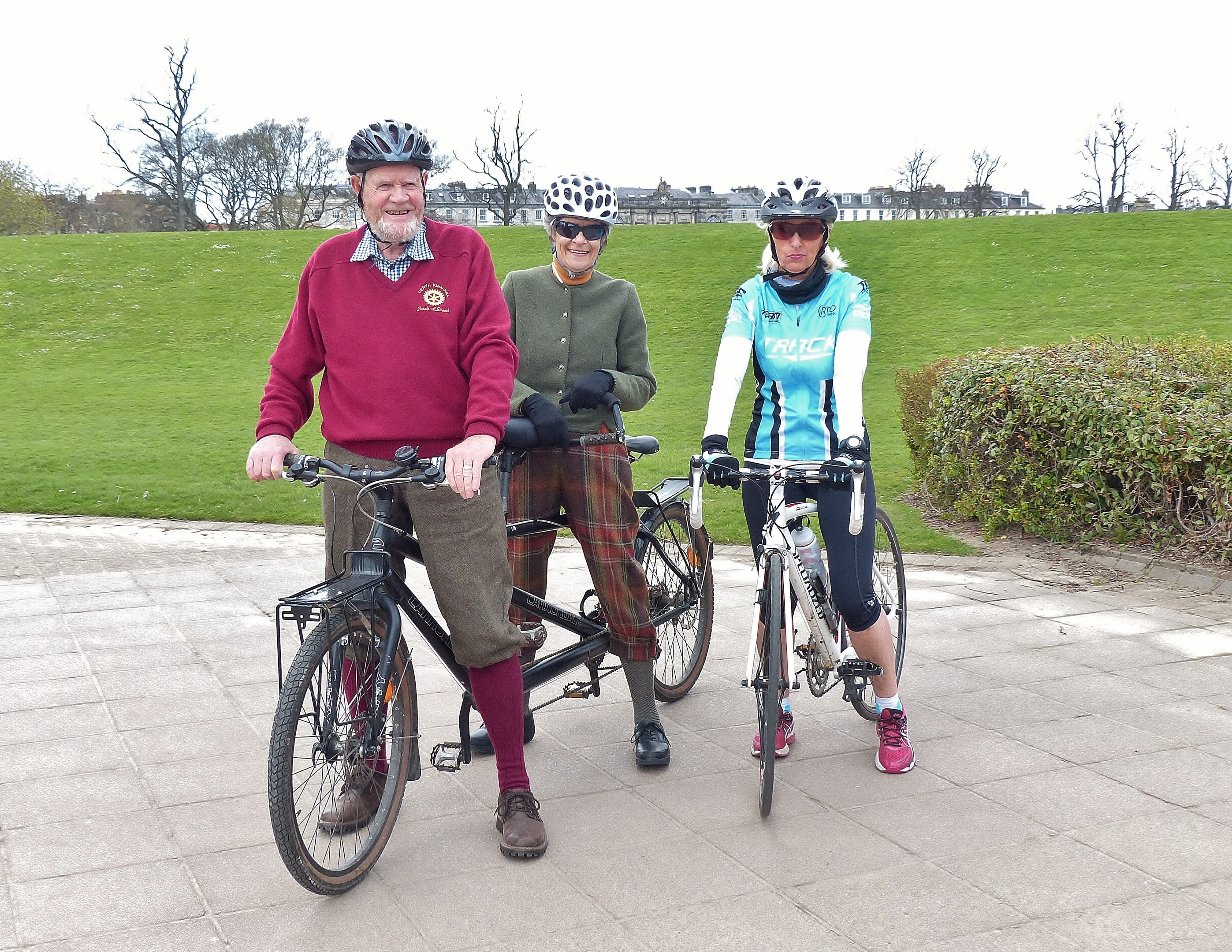 Promoting the Tayside Challenge is tandem riding Rotarian Donald McDonald accompanied by his wife Eva.  Alongside them is Lorna Anderson who will be taking part in Saturday's Tayside Challenge 46 mile route.