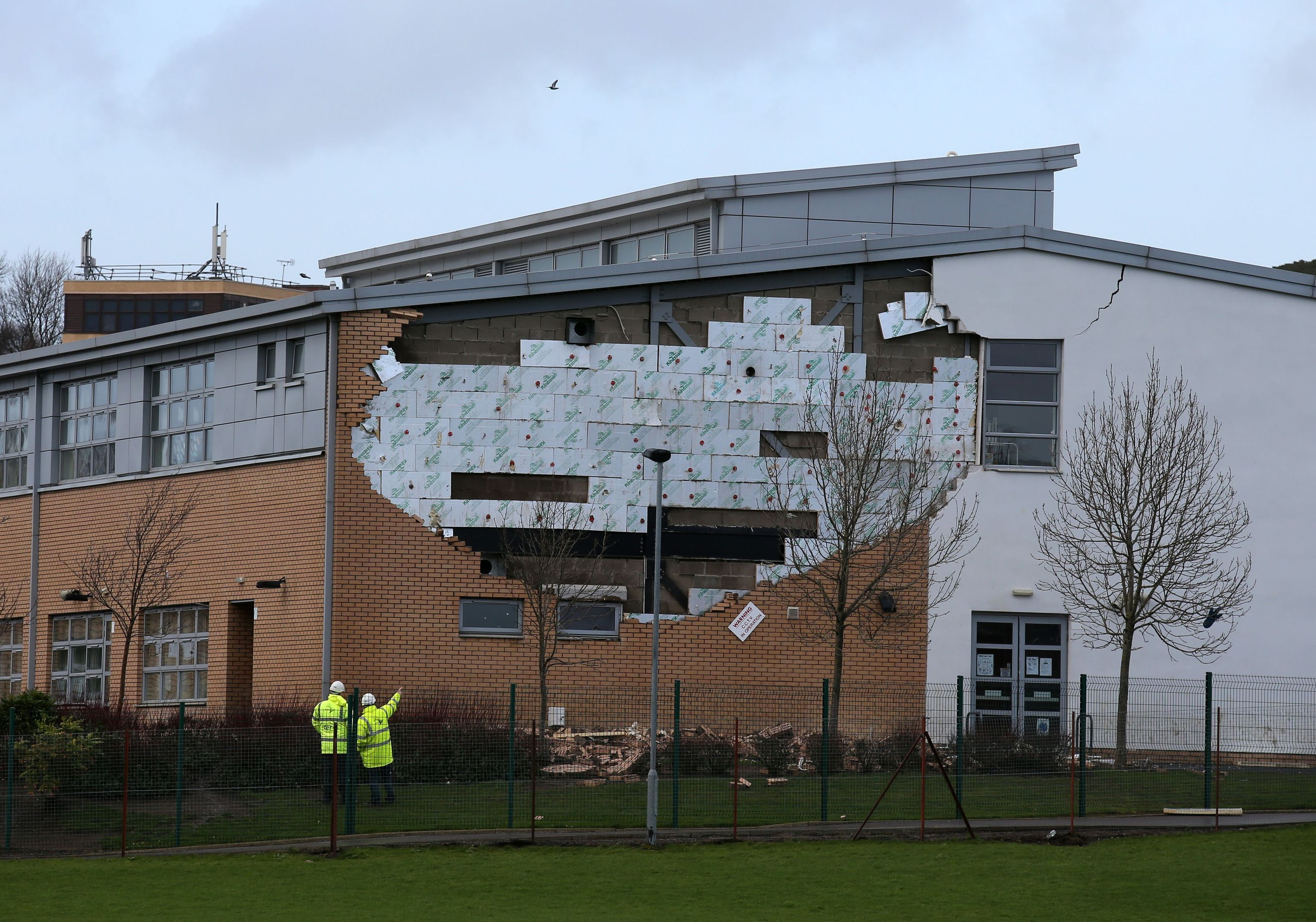 A collapsed wall at Oxgangs Primary School in Edinburgh. Problems in the capital led to safety checks at other schools across the country.